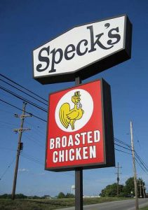 Speck's Broasted Chicken Collegeville PA sign RetroRoadmap