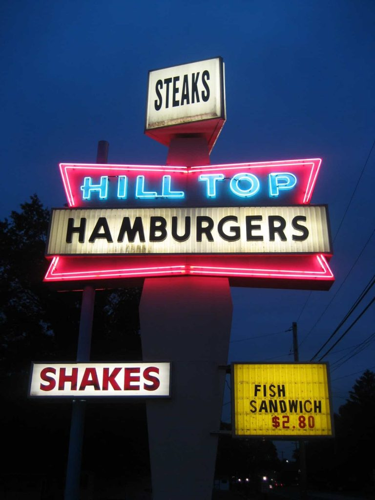 Hilltop-hamburgers-night-sign-sanatoga-pa