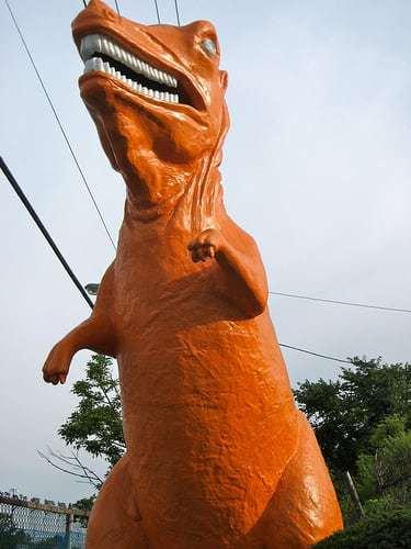 Big Orange Dinosaur Guards Route 1 Mini Golf Saugus MA