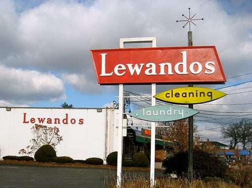 Lewandos Cleaners 1950's Sign Needham MA