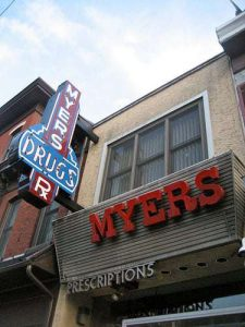 Myers Drugs Vintage Sign Norristown PA