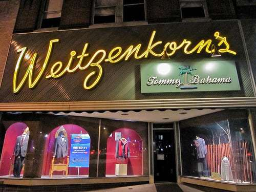 Great Neon Sign at 2nd Oldest Men's Clothing Stores in the US! Weitzenkorn's Pottstown, PA