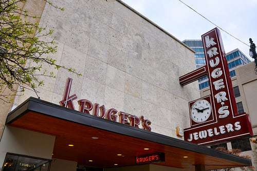 Kruger's Jewelers - Mid Century Fabulous Facade and Vintage Signs!