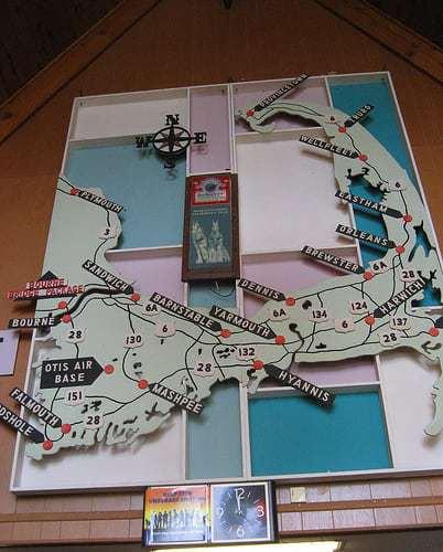 Vintage Cape Cod Map Bourne Liquors RetroRoadmap.com