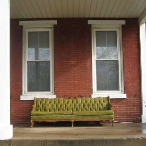 Green Couch on Brick Porch Phoenixville PA