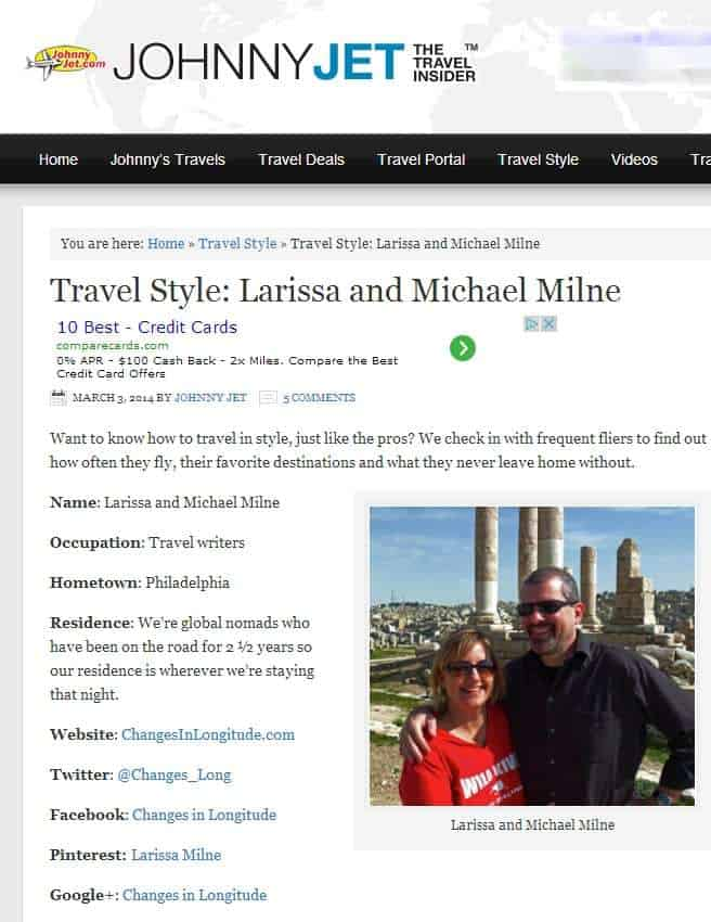 Travel Style Larissa and Michael Milne Johnny Jet Header