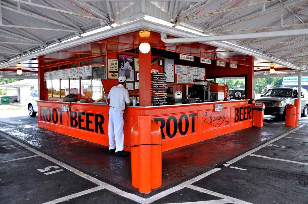 Stewart's Root Beer Drive In - Burlington NJ - Car Hop Service and Sputnik!