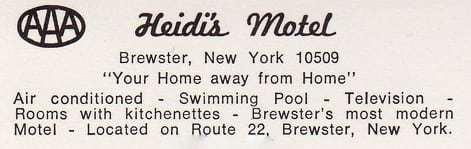 Heidis Inn Brewster NY Vintage Postcard Back