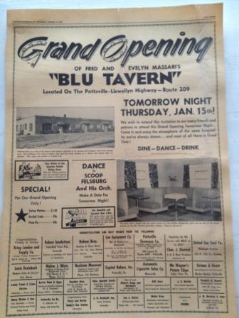 Blu Tavern Pottstown PA Opening January 15 1953